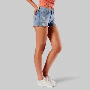 Levis Distressed Frayed Hem Denim Shorts